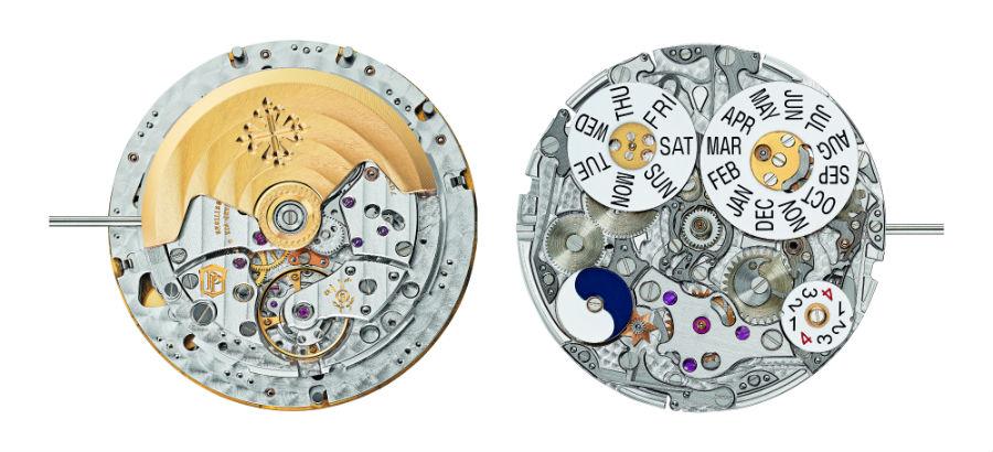 Patek Philippe - Fronte e retro, ecco il movimento meccanico a carica automatica Calibro 324 S Q che anima la Ref. 5320G: 29 rubini, 367 componenti, 32 mm di diametro, 4,97 mm di spessore, frequenza di oscillazione 28.800 alternanze/ora, rotore in oro 21 carati, certificazione Sigillo Patek Philippe.