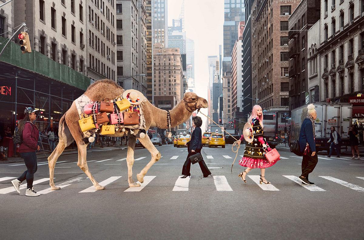 Valigie estate 2017 - cammello attraversa le strade di una città metropolitana portando sul dorso valigie multicolor