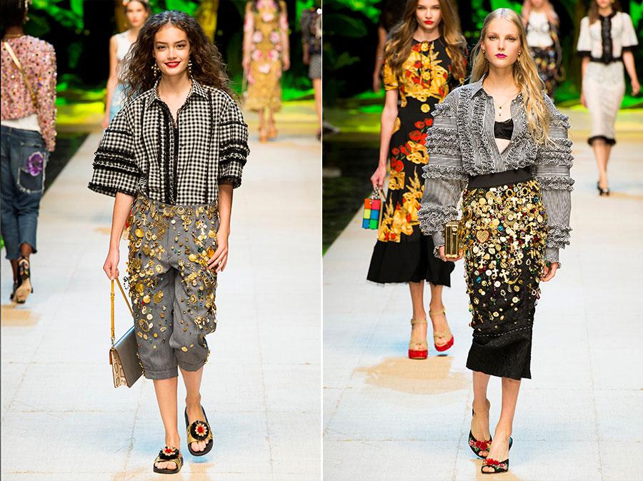 Vichy Tessuto - sfilata abiti da donna di Dolce&Gabbana