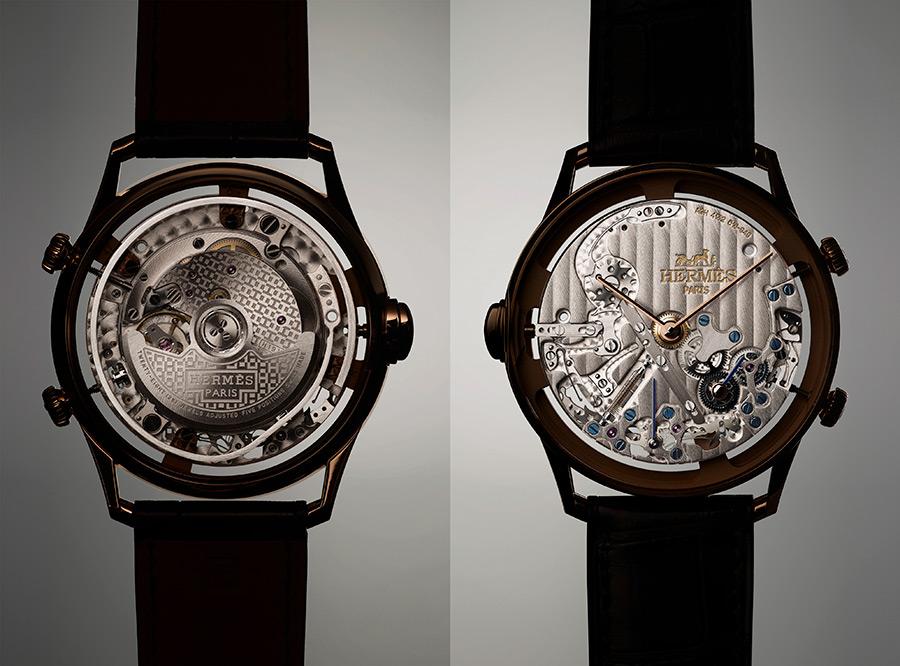 Hermès l'Heure Impatiente - Una singolare immagine dell'orologio privato del suo quadrante. Si noti, sul retro, il piccolo (in relazione alle dimensioni della cassa) calibro H1912 circondato dal gong. Sul lato frontale, invece, dimensioni ben più generose per il modulo aggiuntivo.