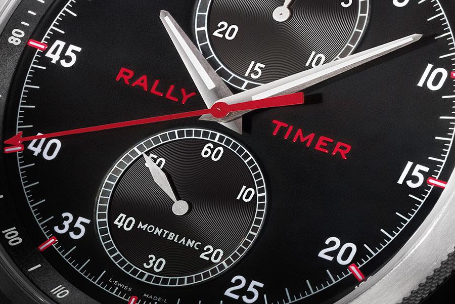 TimeWalker - Montblanc: Un dettaglio del quadrante del Montblanc TimeWalker Chronograph Rally Timer Counter Limited Edition 100. Cronografo monopulsante con movimento di manifattura a carica manuale. Leggero perché con cassa in titanio, nonostante il diametro da 50 mm.