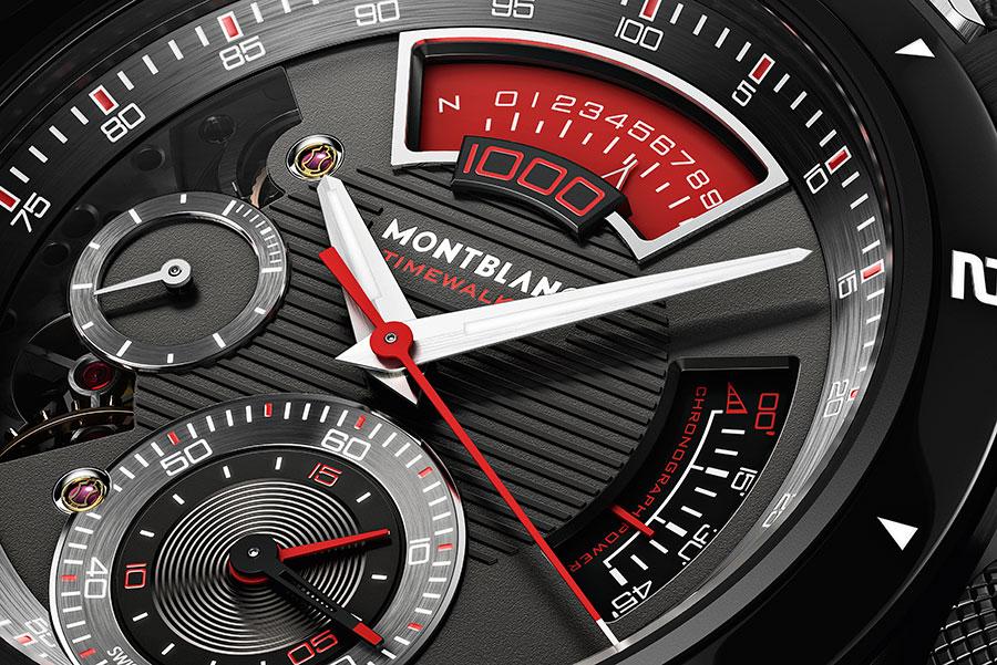 Un dettaglio del quadrante del Montblanc TimeWalker Chronograph 1000 Limited Edition 18 con l'apertura alle 12 dedicata al contatore del millesimo di secondo. Dal punto di vista tecnico, il pezzo più complesso della nuova linea TimeWalker.