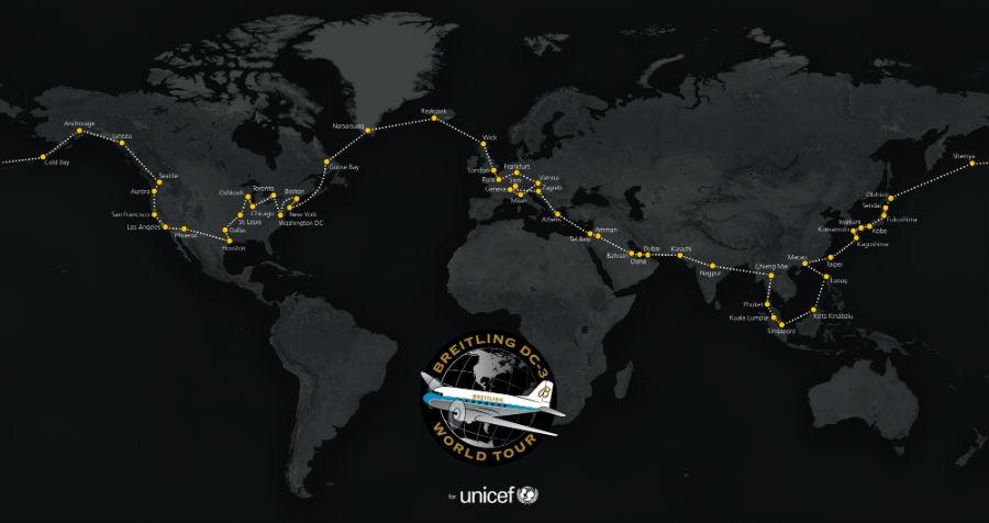 Brietling Navitimer - La rotta compiuta dal Douglas DC-3 con le insegne di Breitling nel suo viaggio intorno al mondo. Partito da Ginevra nel mese di marzo è arrivato a Sion a metà settembre dopo 62 tappe in ben 27 Paesi.