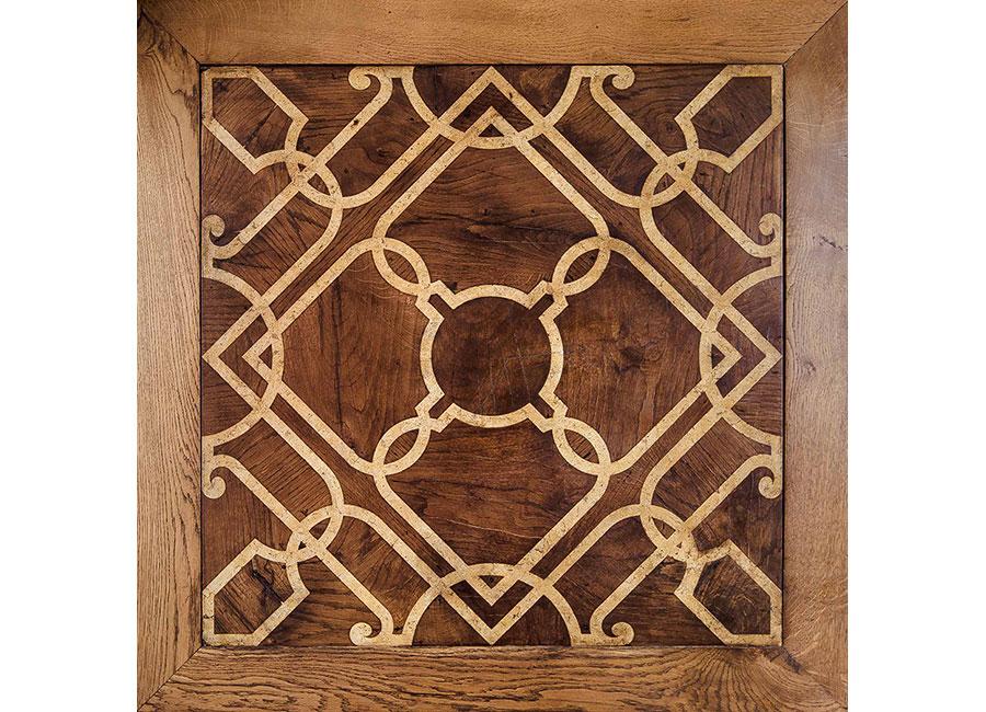 Piano di tavolo o formella pavimentale intarsiato in scagliola su legno. Essenza di quercia antica con scagliola marmorizzata intarsiata. © Bianco Bianchi