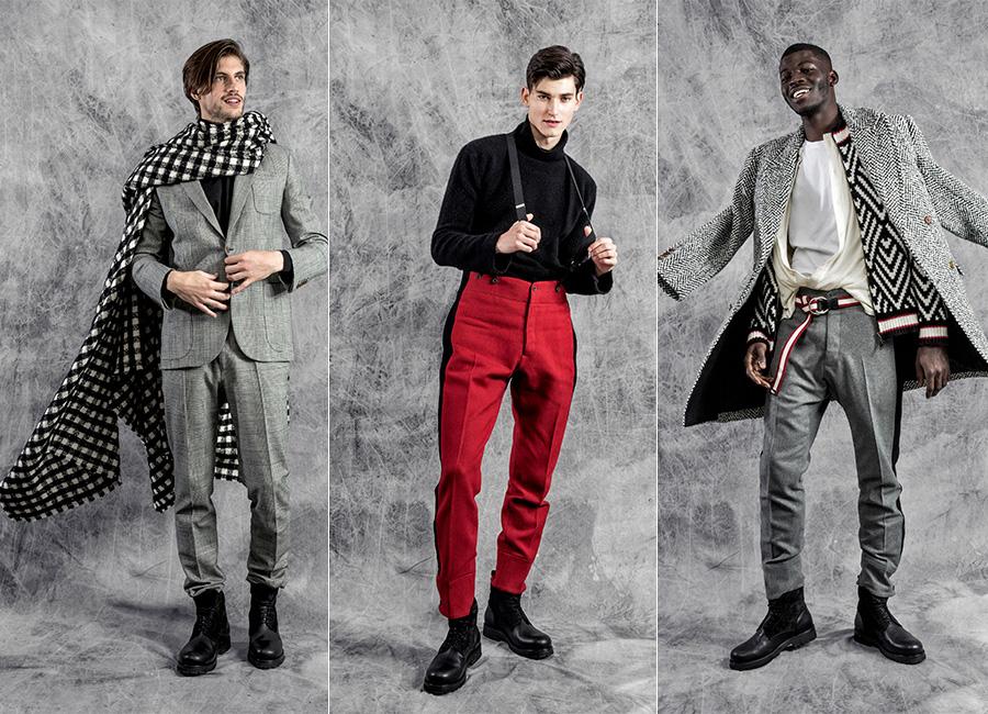 Ermanno Scervino - tre modelli sfilano indossando capi della collezione uomo F/W 2017-2018