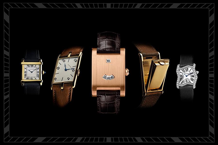 Tank Cartier: Nel 2017 Il Tank Cartier compie 100 anni dalla sua ideazione. Nella foto alcuni modelli che hanno fatto la storia dell'orologeria.