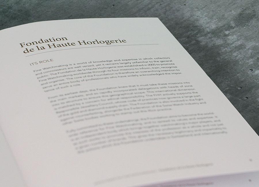 Fondation de la Haute Horlogerie - un testo scritto