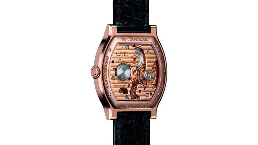 François-Paul Journe - Vagabondage III: Il nome del marchio, F.P. Journe – Invenit et Fecit appare solo sul lato del fondello. Altrettanto importante e prezioso perché è proprio da qui che è possibile apprezzare l'architettura e la meccanica del movimento meccanico a carica manuale in oro rosa.