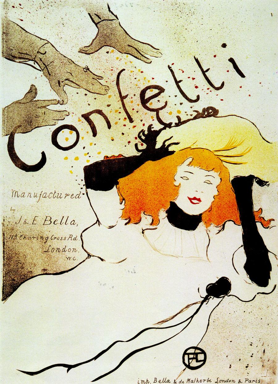 Henri de Toulouse-Lautrec, Confetti, 1894, litografia, manifesto, collezione privata