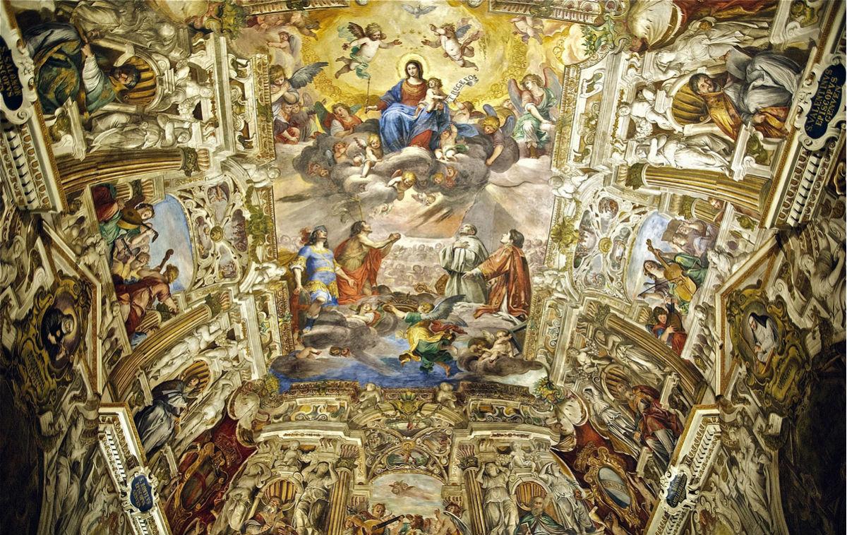 Andrea Fedeli: Il soffitto della cappella di Palazzo Ducale a Genova. L'immenso programma pittorico è opera di Giovanni Battista Carlone, eseguito tra il 1653 e il 1655. Nel medesimo palazzo, l'Atelier Fedeli si è intervenuto anche al piano nobile e nella loggia del primo piano.