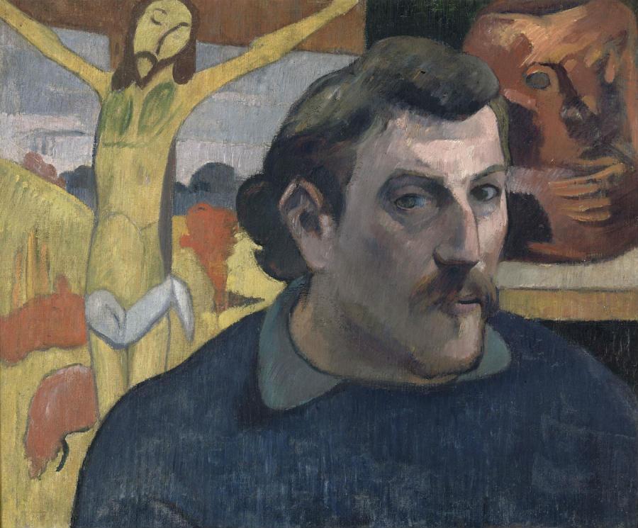 Gauguin l'alchimiste - Paul Gauguin (1848-1903) Portrait de l'artiste au Christ jaune 1890-1891huile sur toile ; 38 x 46 cm Paris, musée d'Orsay, acquis par les Musées nationaux avec la participation de Philippe Meyer et d'un mécénat japonais coordonné par le quotidien Nikkei, 1994 © Rmn - Grand Palais (musée d'Orsay) / René- Gabriel Ojéda
