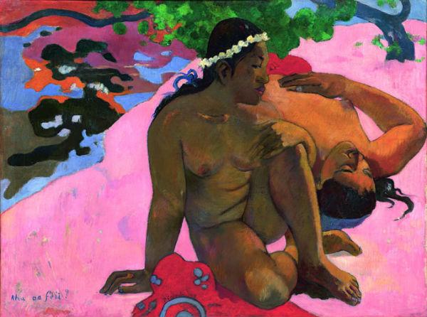 Gauguin l'alchimiste - Paul Gauguin (1848-1903) Ahaoe feii? (Eh quoi ! Tu es jalouse ?) 1892 huile sur toile ; 66,2 x 89,3 cm Moscou, musée d'État des Beaux-Arts Pouchkine © The Pushkin State Museum of Fine Arts, Moscou