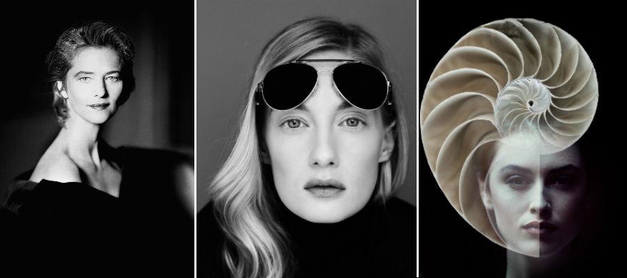 3 immagini di Giovanni Gastel: Femme- Charlotte Rampling - 1990, Look Beyond -Eva Riccobono - 2012, Lisa Graham - 2017