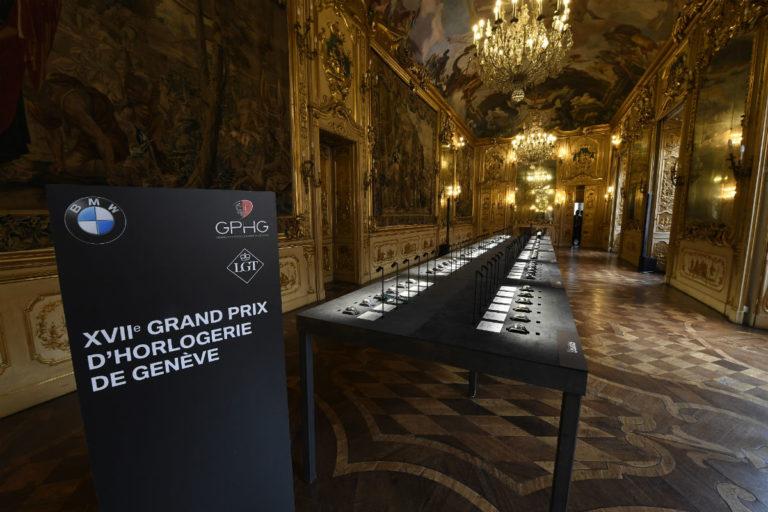 Una panoramica della Galleria del Tiepolo di Palazzo Clerici a Milano, la sala scelta per fare da cornice all'esposizione itinerante del GPHG 2017.