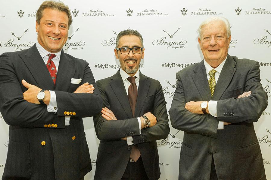 Nelle foto i Marchesi Obizzo e Currado Malaspina con Maurizio Marino, Brand Manager Breguet Italia.