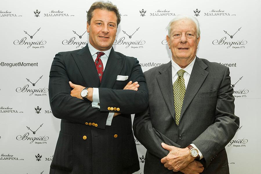 I Marchesi Obizzo e Currado Malaspina durante l'evento del 12 ottobre alla boutique Breguet di Milano.