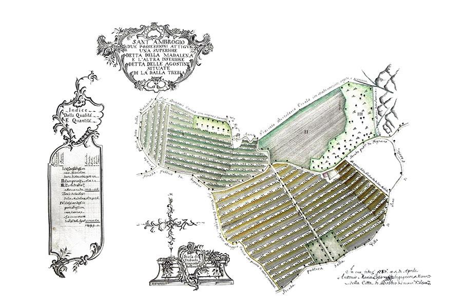 Nella foto una delle tavole realizzate dall'ingegner Antonio Maria Losio a partire dal 1772 rappresenta alcuni dei possedimenti del Marchese Malaspina (ph. Archivio storico Marchese Malaspina)