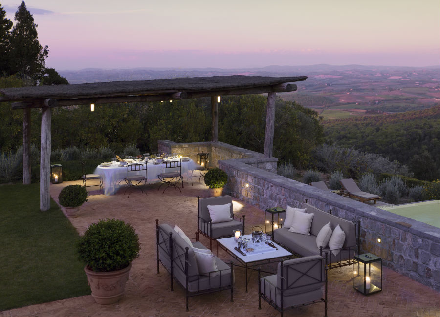 Rosewood Castiglion del Bosco - Terrace Suite Living e Outdoor Dinner in Villa