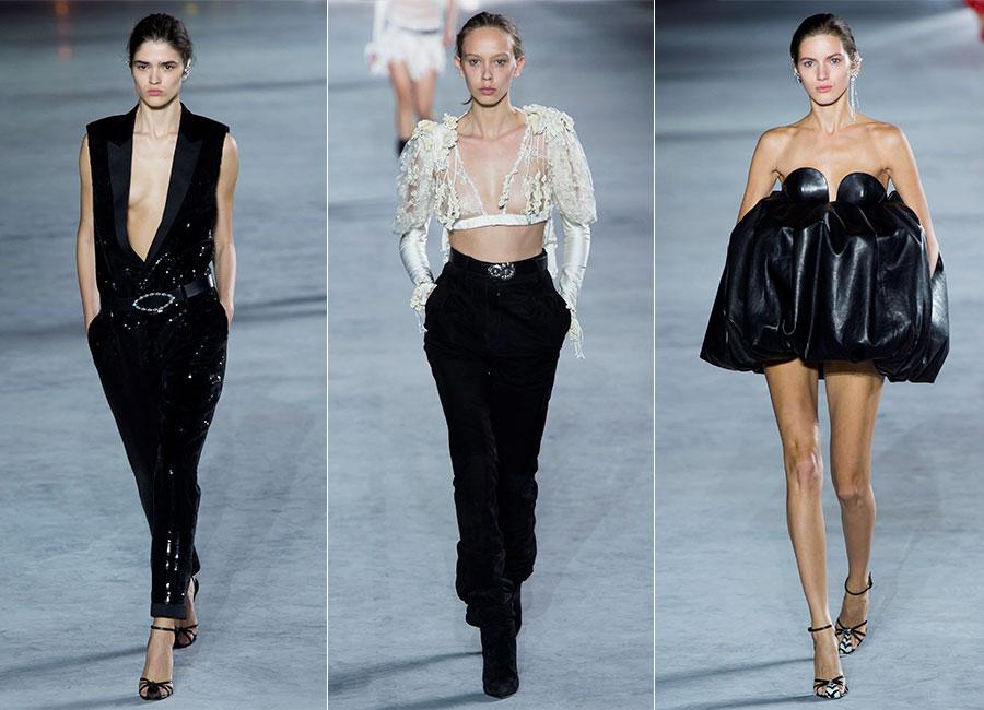 Seduzione: modelle sfilano indossando creazioni Saint Laurent SS2018