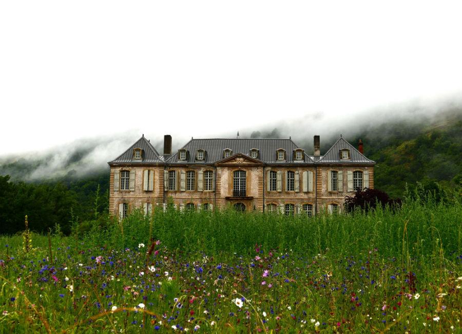 Château de Gudanes - Veduta dell'area esterna del castello e della vegetazione selvatica