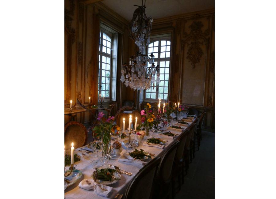 Château de Gudanes - Cene a lume di candela nel salone cerimoniale