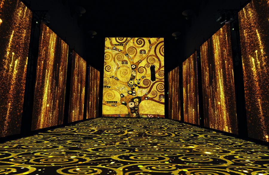 Particolare e texture ispirate a G. Klimt, L'alberodella vita, dal Fregio per Palazzo Stocleta Bruxelles