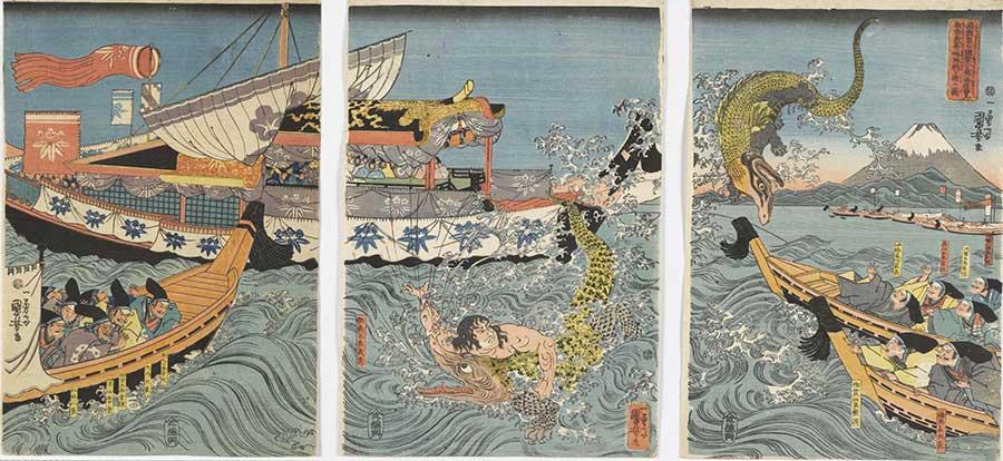 Utagawa Kuniyoshi - Asahina Yoshihide combatte con due coccodrilli nel mare nei pressi di Kamakura Kotsubo osservato da Minamoto Yoriie(Minamoto no Yoriie kō Kamakura kotsubo no umi yūran Asahina Yoshihide shiyū no wani o torau zu) 1843 - 39x79,5 cm