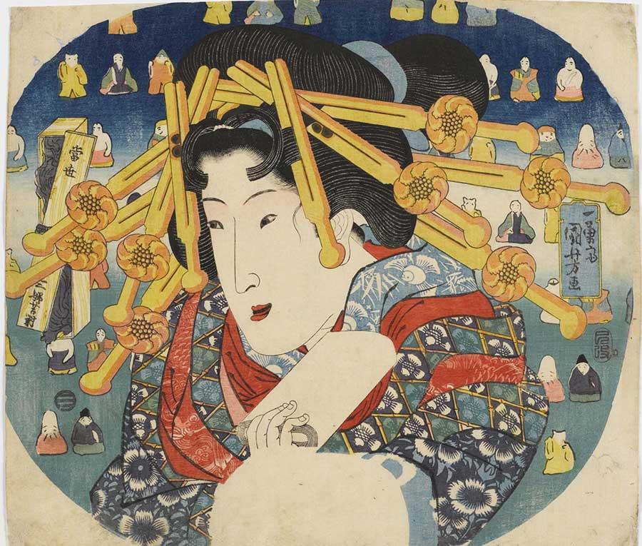 Utagawa Kuniyoshi - Cortigiana Serie: Le tre dure prove delle donne moderne (Tōsei sanpukutsui), 1833 220×290 mm, silografia policroma (nishikie)