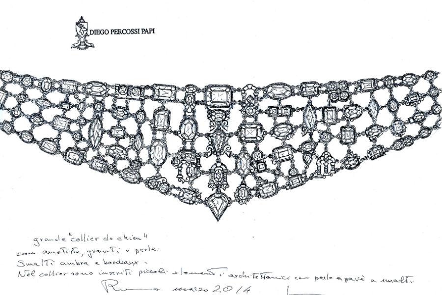 Diego Percossi Papi - Il Collier de chien, esempio di straordinaria maestria orafa, è stato prodotto nel 2014 appositamente per il Museo del Gioiello di Vicenza. Lungo 30 cm, è impreziosito da smalto cloisonné, ametiste africane e brasiliane, granati e mosaico in microperle naturali. Le tre foto mostrano, in sequenza, il disegno, la disposizione delle pietre preziose, il gioiello finito.