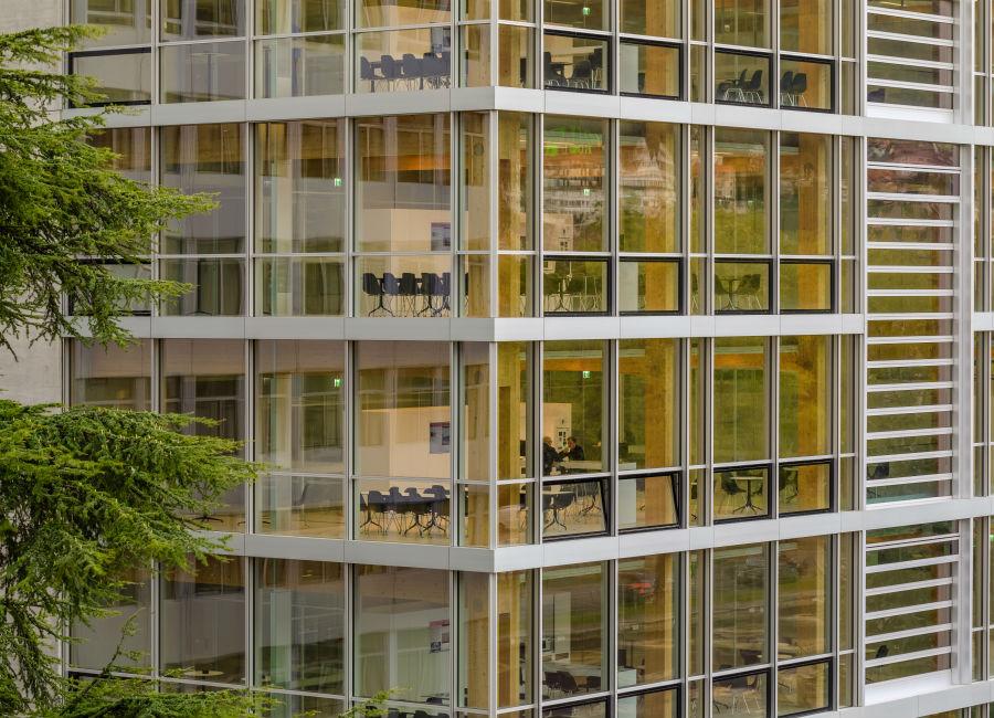 Le superfici vetrate sono predominanti. Paratie mobili automatizzate consentono di regolarne la luce in entrata