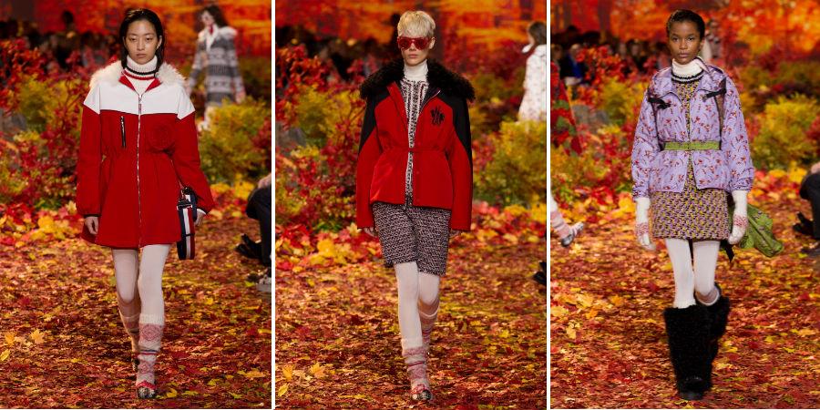 Piumino: 3 modelle indossano capi della collezione Moncler Gamme Rouge F/W 2017-2018