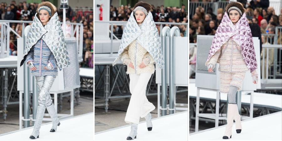 Piumino: 3 modelle indossano capi della collezione Chanel F/W 2017-2018