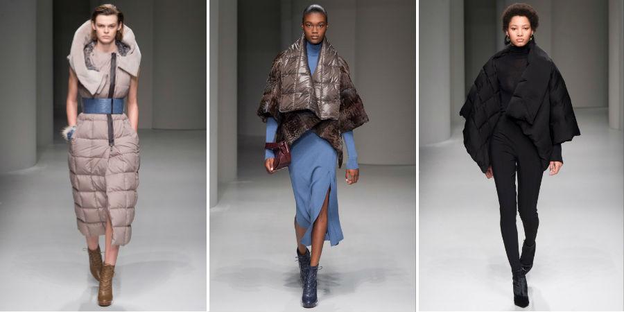 Piumino: 3 modelle indossano capi della collezione Salvatore Ferragamo F/W 2017-2018