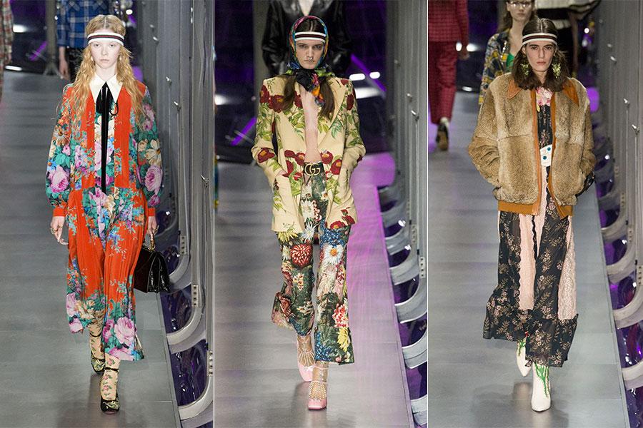 Urban sportswear: 3 modelle indossano capi della collezione Gucci F/W 2017-2018