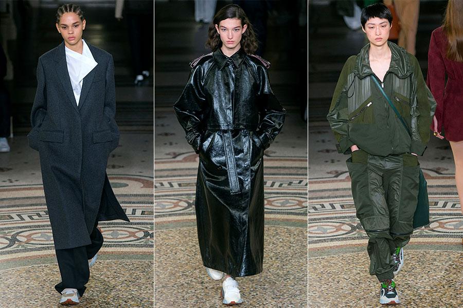 Urban sportswear: 3 modelle indossano capi della collezione Stella Mc Cartney F/W 2017-2018