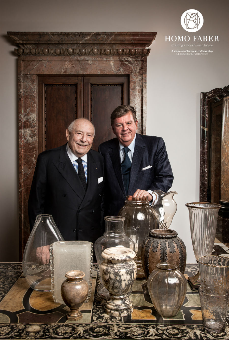 Michelangelo Foundation – Homo Faber Franco Cologni (sinistra) e Johann Rupert (destra), co-fondatori della Michelangelo Foundation for Creativity and Craftsmanship. © Laila Pozzo