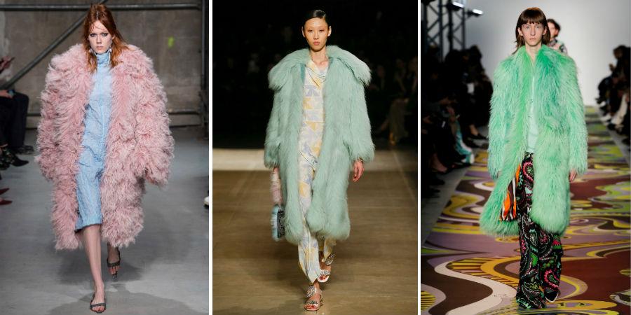 Eco pelliccia: 3 modelli di Marni, Miu Miu, Pucci F/W 2017-2018