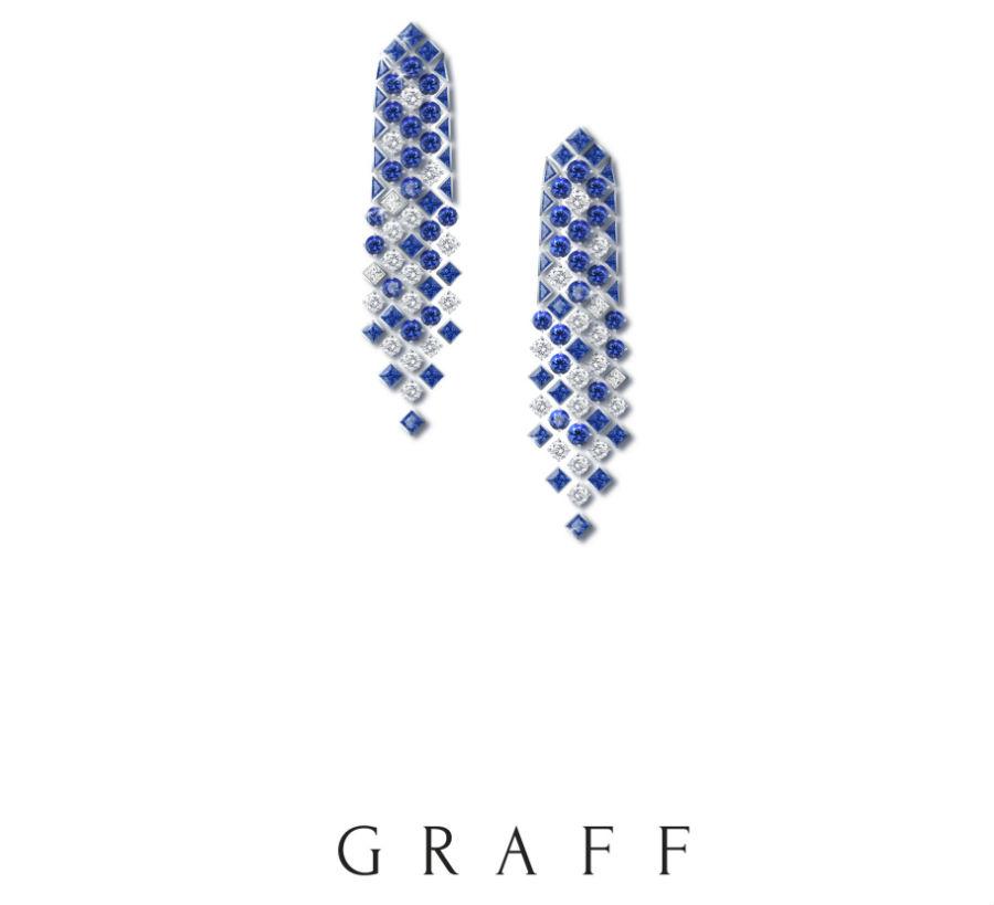Graff – Snowfall - Orecchini con zaffiri (21.07cts) e diamanti (8.09cts)