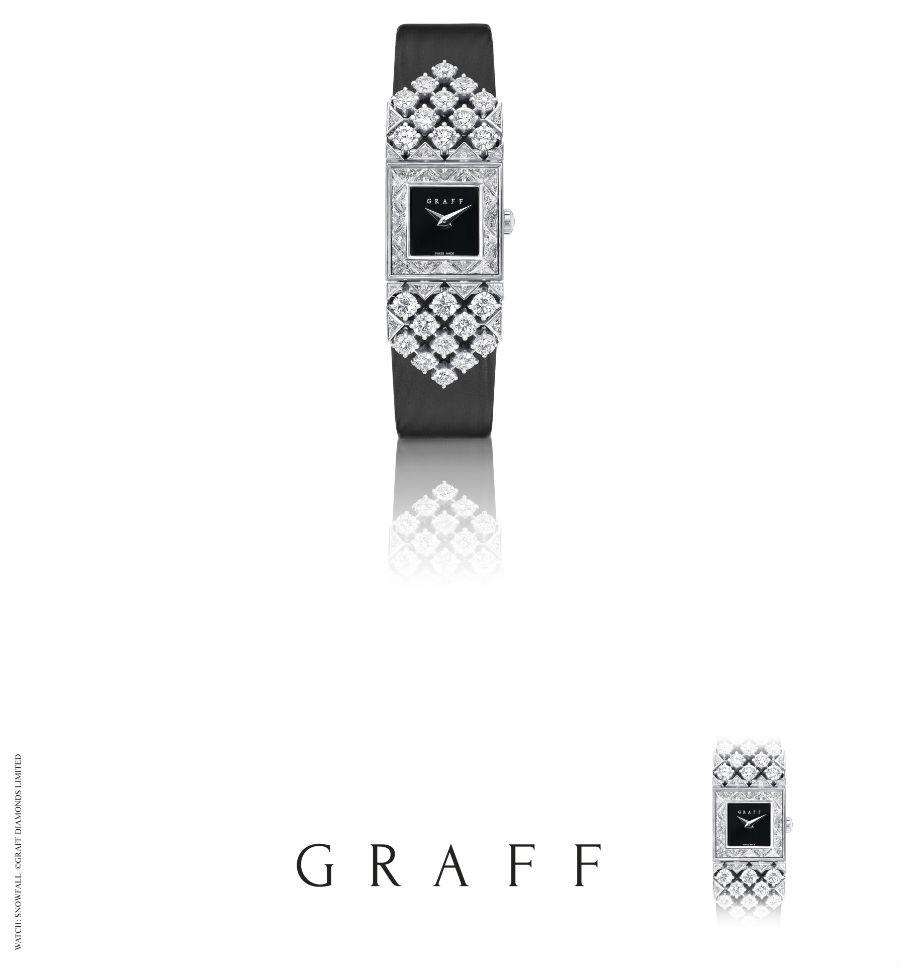 Graff – Snowfall - Orologio con diamanti (5.53cts) e nastro di satin nero