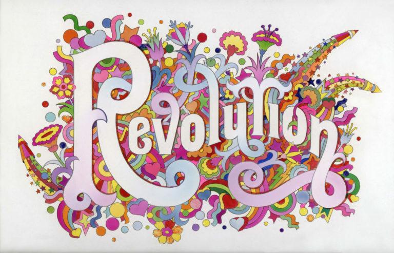 La scritta Revolution per la mostra Revolution. Musica e ribelli 1966-1970, dai Beatles a Woodstock