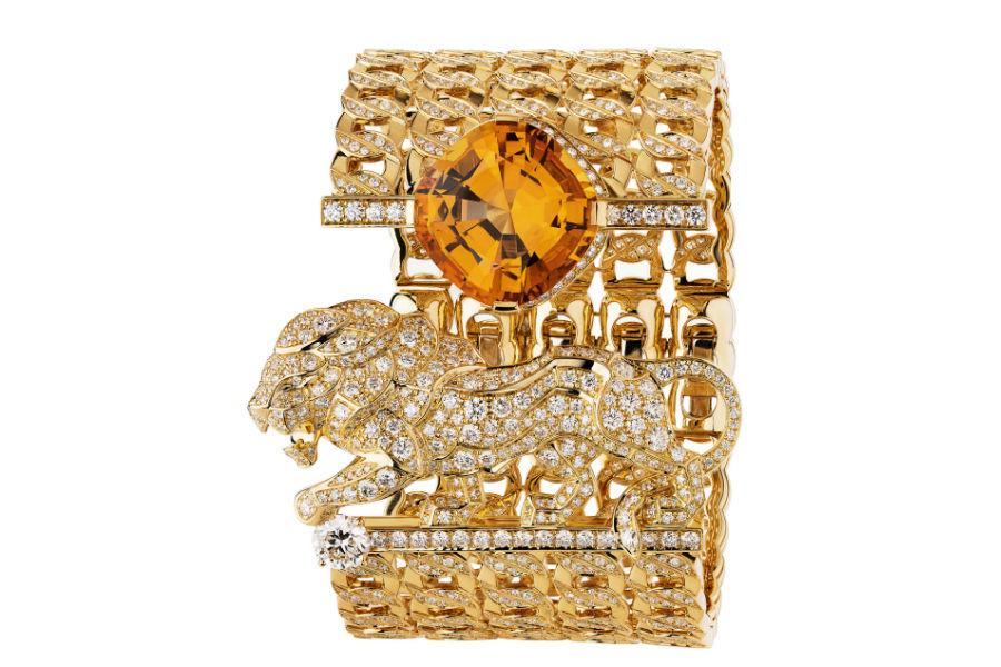 """Chanel - L'Esprit du Lion - Parure """"Passionate"""": Bracciale manchette in oro giallo con topazio arancione, diamanti taglio rotondo e brillanti."""