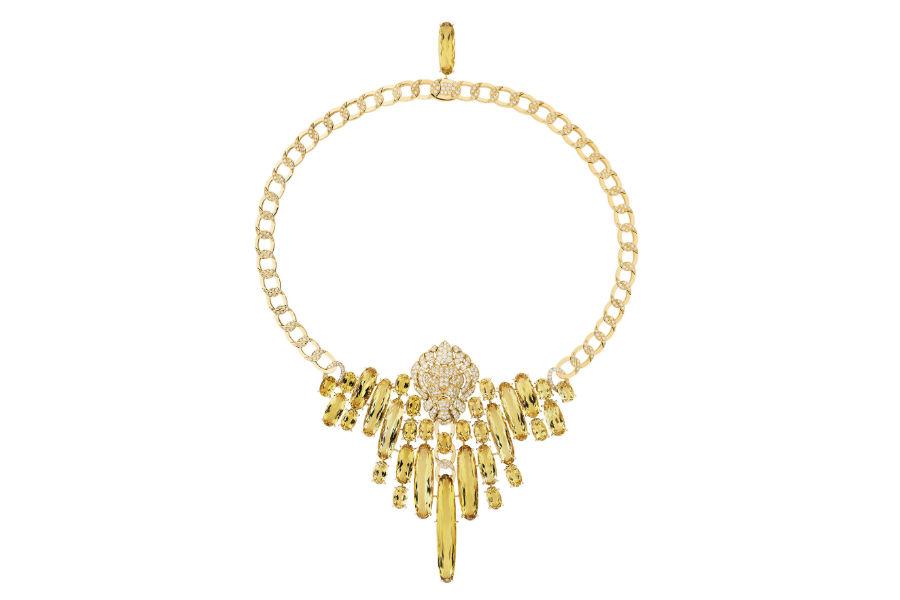 """Chanel - L'Esprit du Lion - Collana """"Dazzling"""" in oro giallo con 32 berilli gialli a taglio ovale per un totale di 111.18 carati e 454 brillanti."""