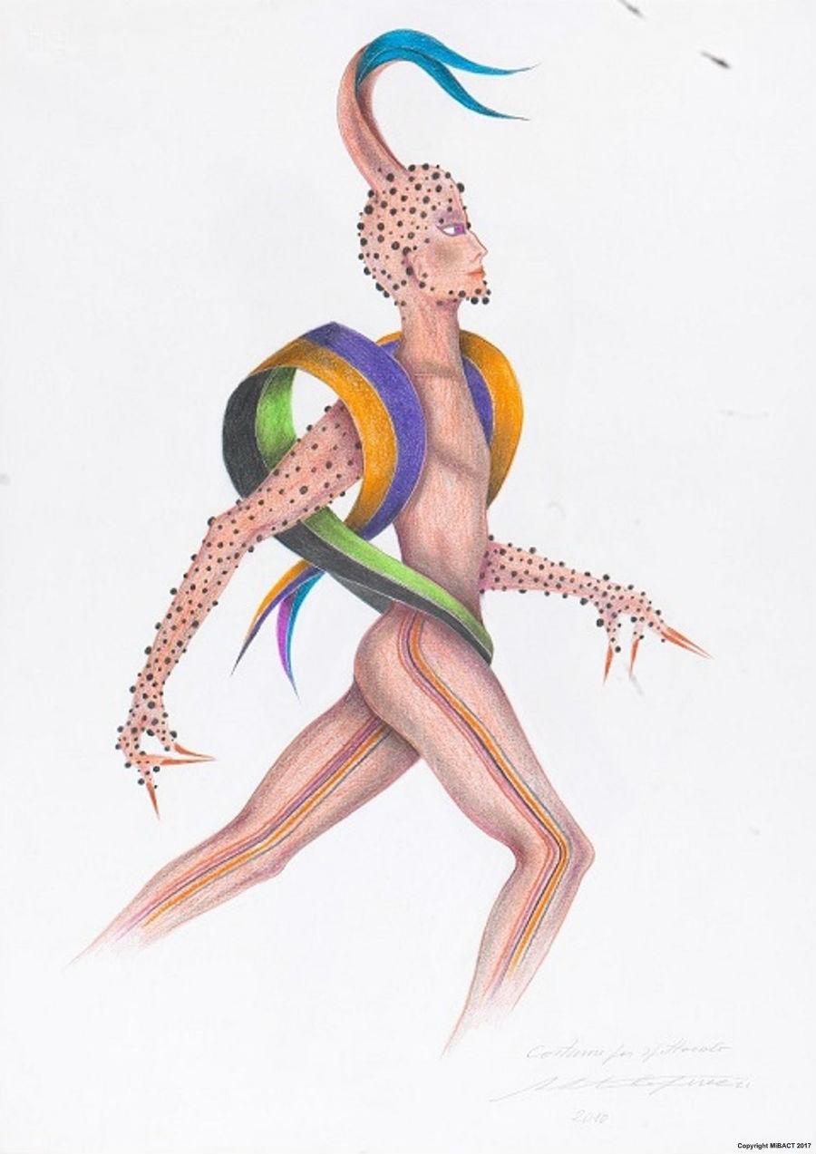 Capucci Dionisiaco, disegni per il teatro: bozzetto di Roberto Capucci in mostra a Palazzo Pitti