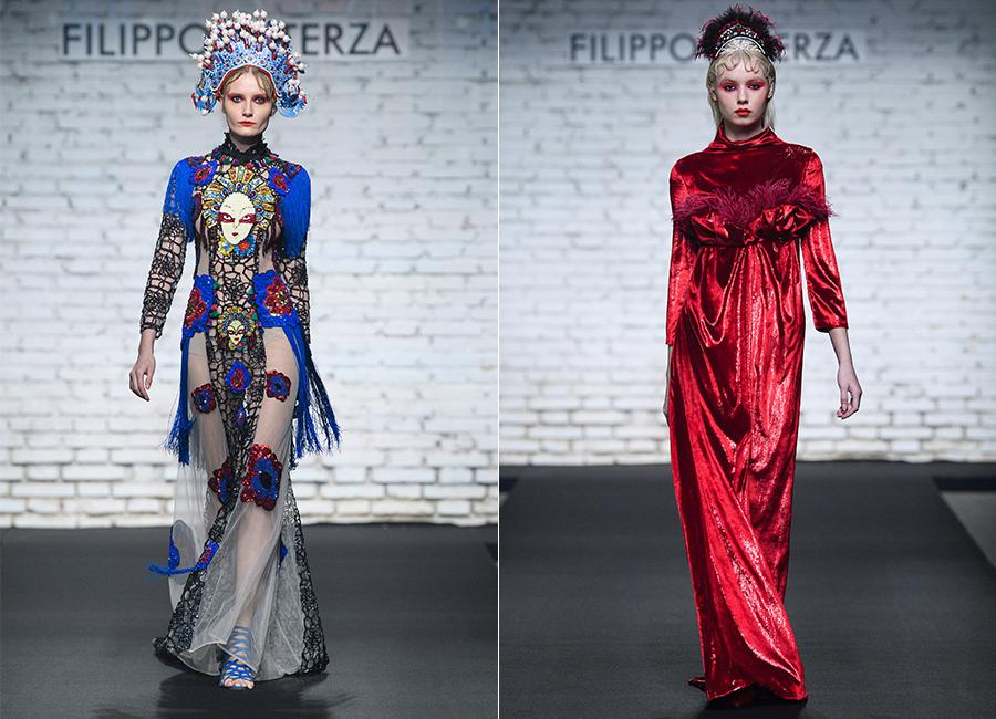 Altaroma 2018 - 2 modelle indossano capi di Filippo Laterza, Altaroma (Credits S.Dragone-F.Fior/Luca Sorrentino)