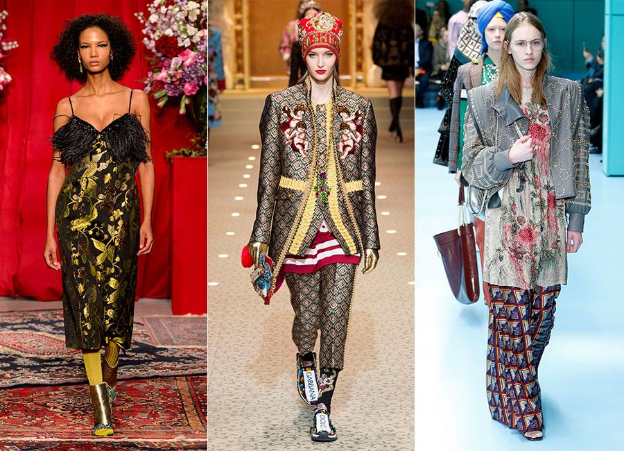 Milano Fashion Week - F/W 2018-2019: 3 modelle sfilano con completi in stampa tapestry per Christian Pellizzari, Dolce&Gabbana, Gucci