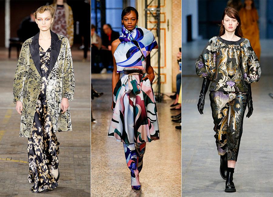 Milano Fashion Week - F/W 2018-2019: 3 modelle sfilano con completi in stampa tapestry per Antonio Marras, Pucci, Albino Teodoro.