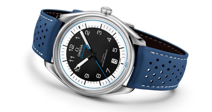 Una delle cinque referenze della Collezione Seamaster Olympic Games di Omega, con cinturino blu traforato.