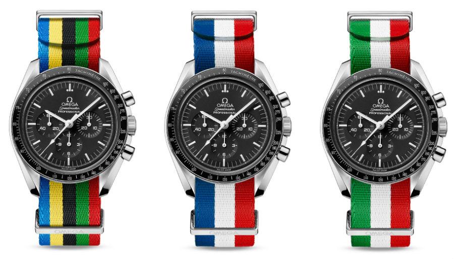 Una selezione dei cinturini NATO proposti da Omega durante i Giochi Olimpici. Tutti sono dotati di fibbia in acciaio inossidabile e passanti coordinati - Omega