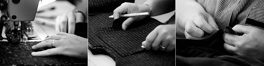 Tagliatore - Pino Lerario: immagini di mani mentre sono al lavoro su tessuti