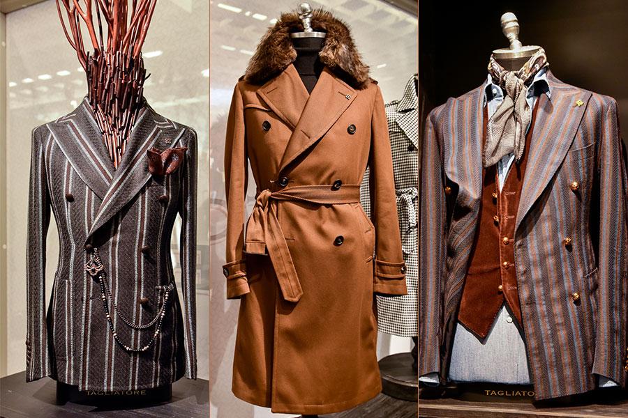 Tagliatore - Pino Lerario: nelle 3 immagini si vedono Giacca doppiopetto - Trench con collo di pelliccia - Giacca doppiopetto con panciotto in velluto